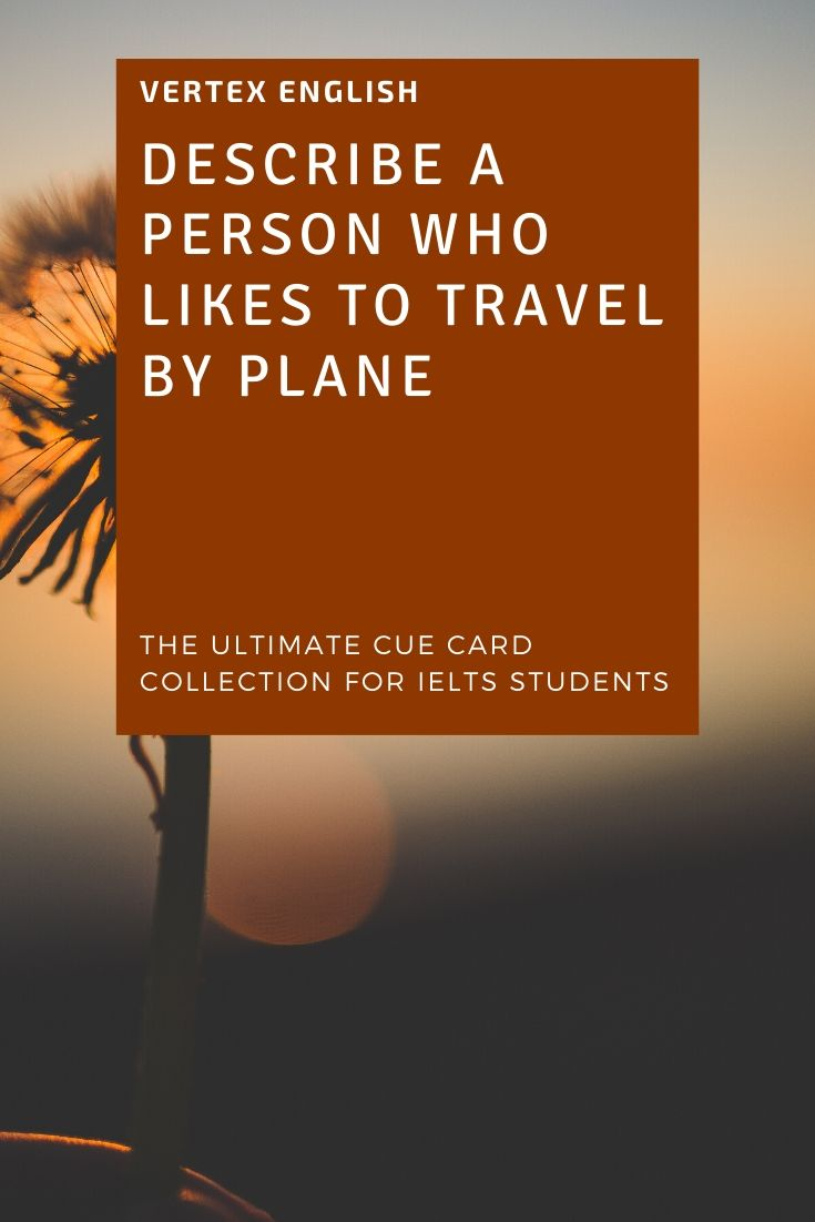 Describe a person who likes to travel by plane